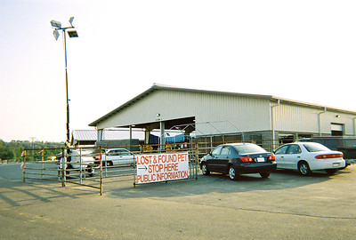 Entrance to the emergency shelter set up by the Humane Society of the U.S. in the Hattiesburg, Mississippi multi-use pavilion