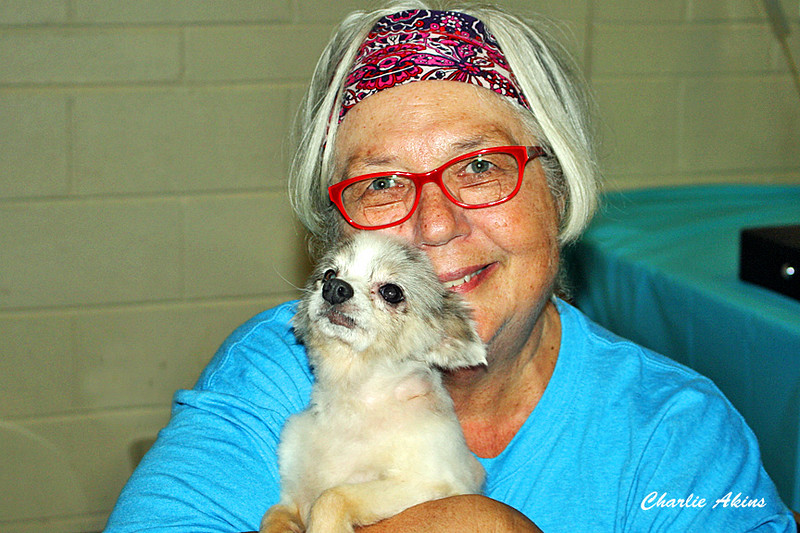 This nice lady is holding a rescue pup from hurricane Irma.