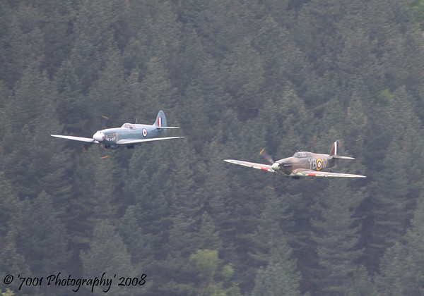PS915 (BBMF) Spitfire PR XIX & LF363/'YB-W' (BBMF) Hurricane IIC - 16th May 2008.