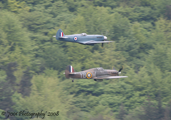 PS915 (BBMF) Spitfire PR XIX & LF363/'YB-W' (BBMF) Hurricane IIC - 16th May 2008.