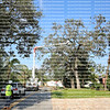 Hurricane Irma debris workers using bucket trucks to go through neighborhoods cleaning up and removing damage tree limbs.