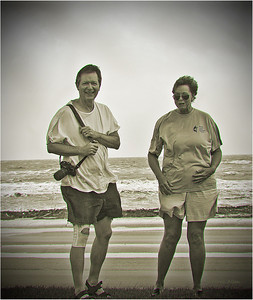 A blackmail picture of my Preacher and his wife,  Jim and Judy Curtis.  LOL The wind was blowing stinging sand on us at almost Tropical Storm force.