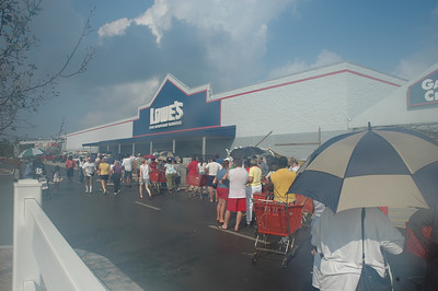 Lined up to get water.  I was driving by on my way to Atlanta, because I was out of my prescription ( I had done everything else!).