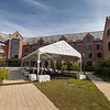 A tent set up in the Joseph and Marie Field Courtyard at Baker Hall for hybrid learning