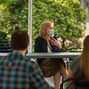 Dean Gerken speaking to students in the Sol Goldman Courtyard