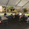 Dean Heather Gerken meets with small groups of 1Ls in the courtyard tent