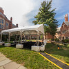 A tent set up in the Sol Goldman Courtyard to accommodate classess and meetings