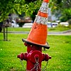 A hydrant wearing a sorting hat