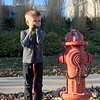 Emerson Wizard with his staff next to his favorite fire hydrant. OK, it's not really his favorite fire hydrant; he's only standing there because I asked him to :)