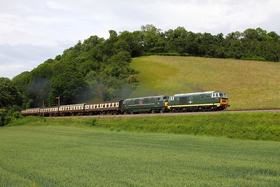 D7017+D832 on the 1345 Minehead to Bishops Lydeard at Castle Hill on the 8th June 2014 (2)