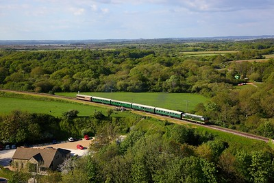 D7017 on the 1730 Norden to Swanage approaching Corfe Castle on the 13th May 2018