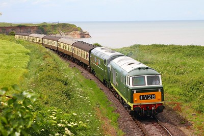 D7017+D832 on the 1345 Minehead to Bishops Lydeard at Doniford on the 8th June 2014