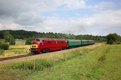 D821 on the 2J11 1230 Tunbridge Wells West to Eridge at Pokehill farm on the 2nd August 2019 1