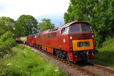 D1010+D1015 on the 1545 Minehead to Bishops Lydeard at Nethercott on the 8th June 2014