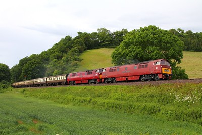 D1010+D1015 on the 1545 Minehead to Bishops Lydeard at Castle Hill on the 8th June 2014