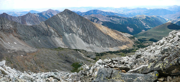 Cobb Peak and the view down Hyndman Basin.