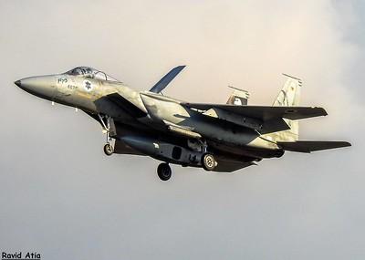 מטוס בז של טייסת אבירי הזנב הכפול נוחת. צילום: רביד אטיה