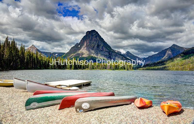 Boats Awaiting at Two Medicine Lake