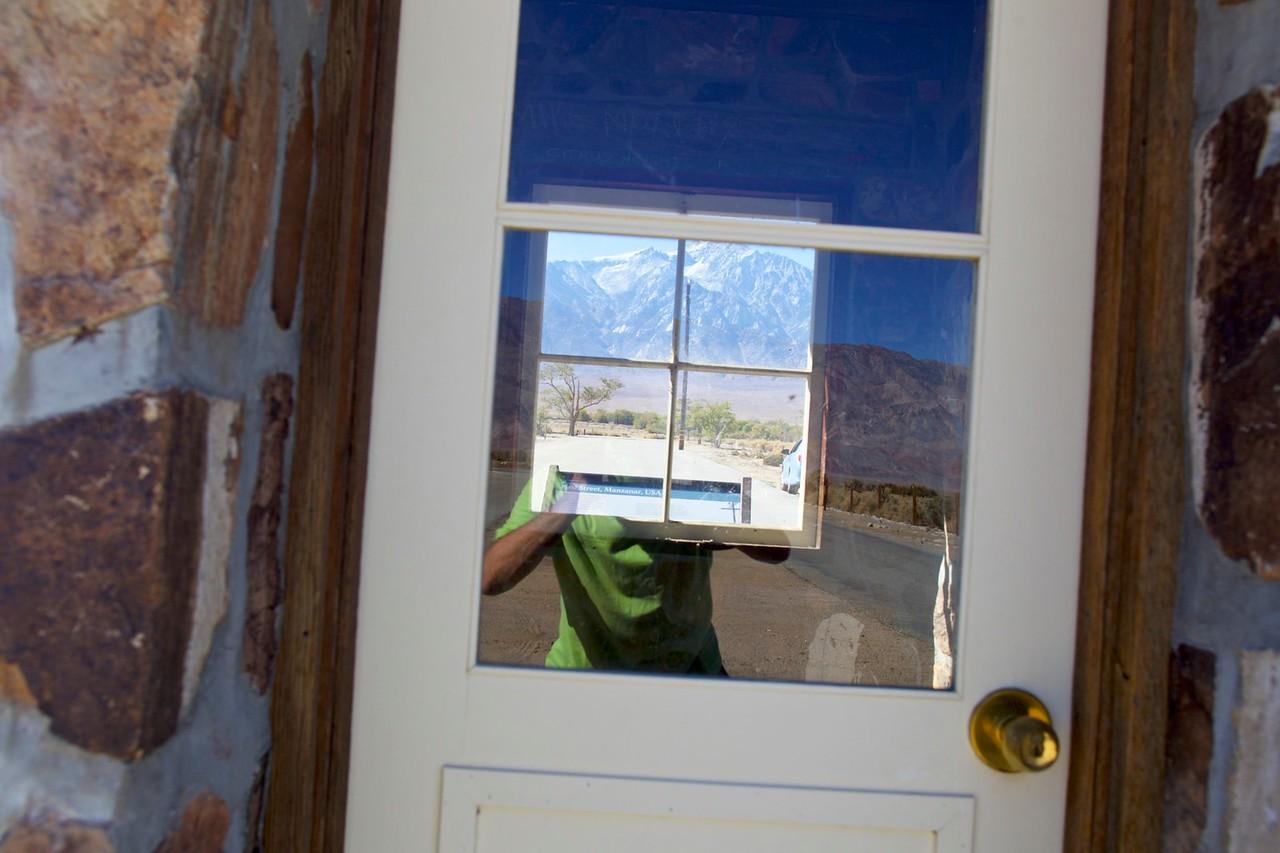 Test shot for self-portrait, Doors of Perception series, Vane at Manzanar, CA.