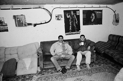 """Yvelines. Town of Mantes-la-Jolie.1990. """"Le Val FourrÈ"""" housing estate.  Young """"beurs"""" (Second generation of North Africans based in France) in a basement used as a youth club."""