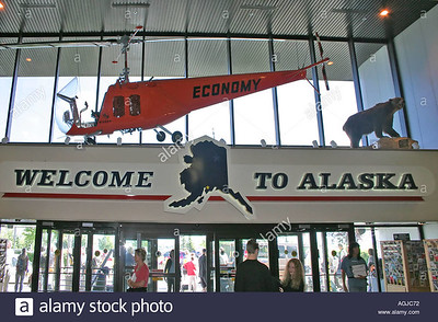 Welcome sign at the airport of Anchorage Alaska USA