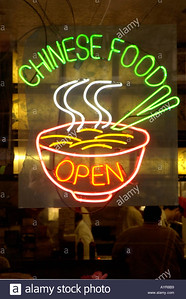 NEON SIGN IN CHINESE RESTAURANT WINDOW. MIDTOWN MANHATTAN. NEW YORK CITY. UNITED STATES OF AMERICA. USA