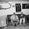 """Yvelines. Town of Mantes-la-Jolie.1990.<br /> """"Le Val FourrÈ"""" housing estate. <br /> Young """"beurs"""" (Second generation of North Africans based in France) in a basement used as a youth club."""