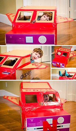 sick day at home for noah, so what do we do? Build a diapers.com box Super Airplane Fire Truck, of course!