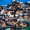 Swimming: 2016 Summer Olympics: View of press photographers at the Olympic Aquatic Center.<br /> Rio de Janeiro, Brazil 8/6/2016<br /> CREDIT: Donald Miralle (Photo by Donald Miralle /Sports Illustrated via Getty Images)<br /> (Set Number: SI83 TK1 )