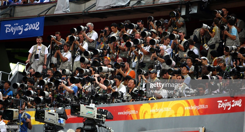 Press photographers and TV cameras in operation at the Birds Nest stadium in Beijing.   (Photo by Andrew Milligan - PA Images/PA Images via Getty Images)