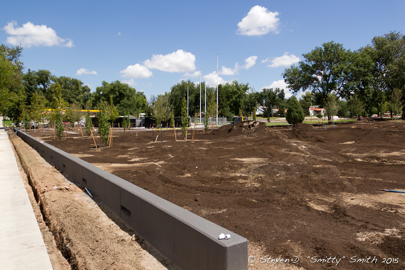 Day 173 - Looking northeast towards the Memorial. Still prepping the dirt for sod.