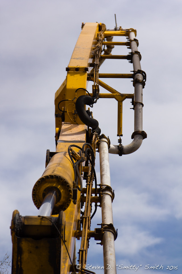 "Day 50 - The boom of the concrete pumping truck. (It was this truck that was the ""What is it?"" image from yesterday)."