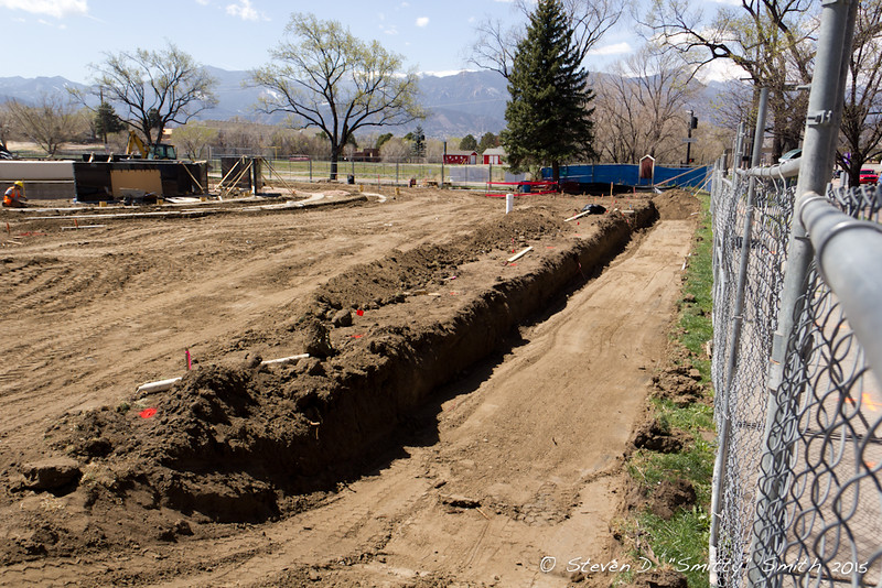 Day 60 - Trench dug for the short wall that will parallel Pikes Peak Ave.