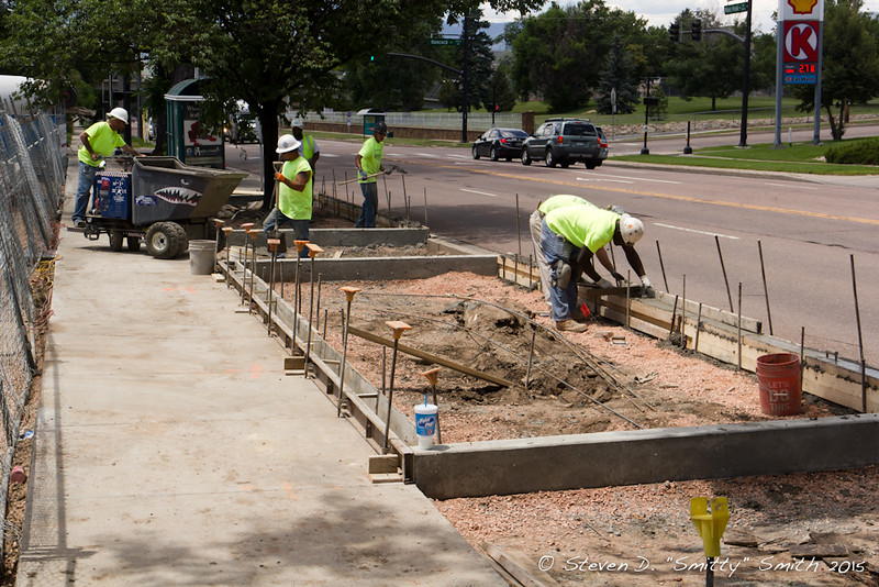 Day 159 - Working on the landscaping beds and new walks along Pikes Peak Avenue.