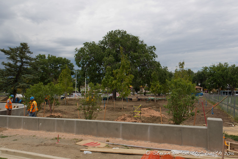 Day 144 - Some of the landscaping and new wall at the southeast corner of the Memorial adjacent the parking lot.