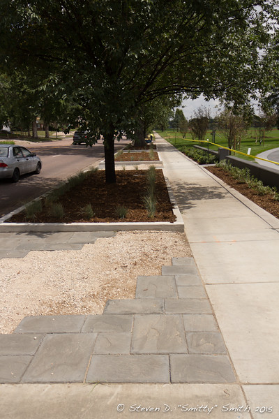 Day 192 - Looking east along Pikes Peak Ave. at the new walkways and landscaping.