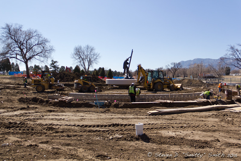 Day 43 - Forms for wall foundations are being built.