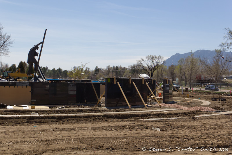 Day 60 - More wall sections up on more rings of the Memorial. Looking south from Pikes Peak Ave.