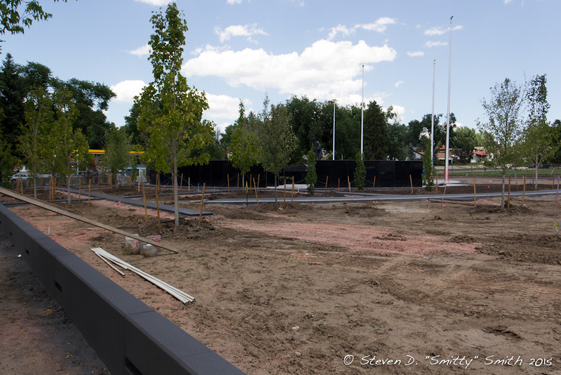 Day 159 - Trees in, sitting wall painted, just need to finish irrigation and then sod!