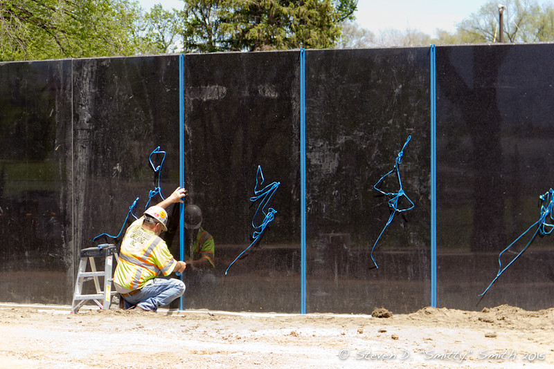 Day 114 - Prepping the outer ring of new memorial walls for grout.