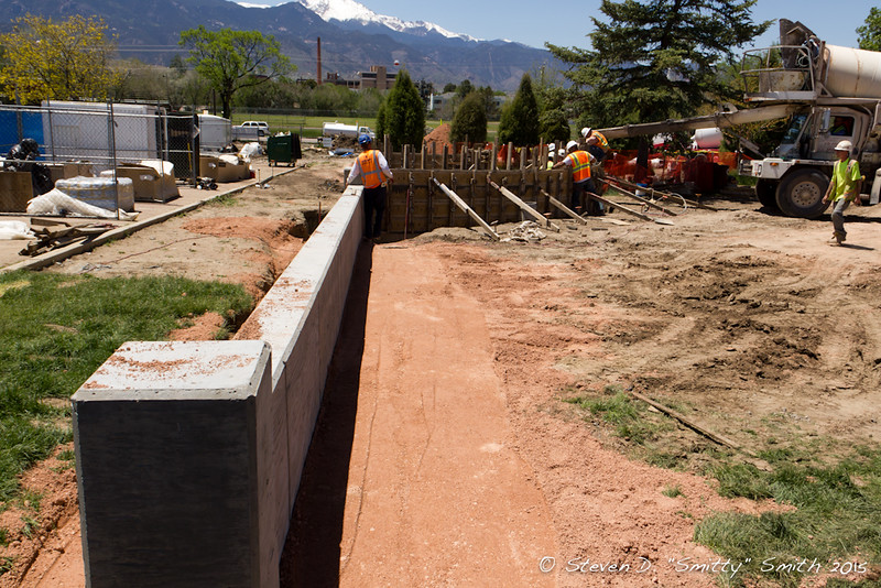 Day 114 - Another short wall going in along the parking lot to the south of the Memorial.