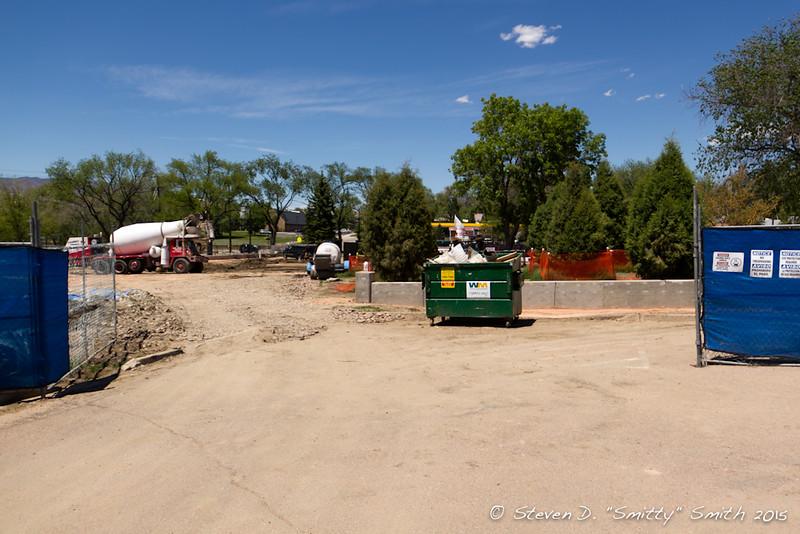 Day 114 - Looking north/northeast into the site from the small parking lot.