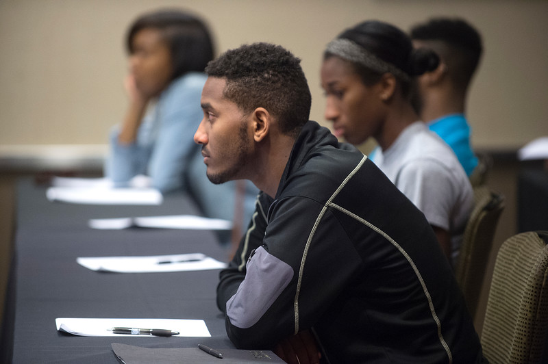 The Purdue chapter of the NSF-funded Louis Stokes Alliance for Minority Participation, LSAMP, presented problem-solving activities to participants in the IBE Youth Leadership Summit. 2015 Indiana Black Expo at the Indianapolis Convention Center and the Downtown Hyatt Regency (Purdue University/ Mark Simons)