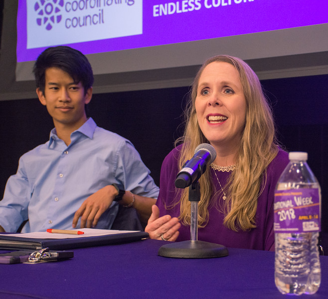 Dr. Sara Thurston gave lecture for 6 years, she shared a couple of interesting stories with international students. The Panel Discussion was held at Wildcat Chamber, K-State Student Union, 8th April. (Bill Zhu | Collegian Media Group)