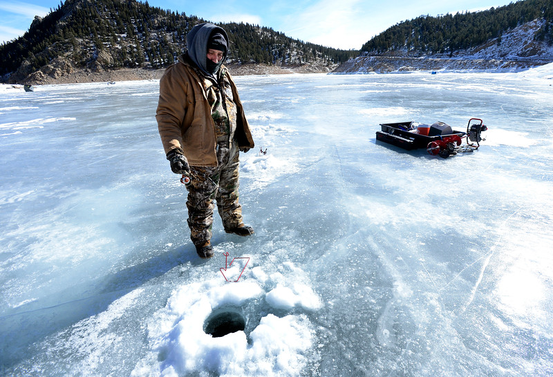 ICE FISHING AT GROSS RESERVOIR