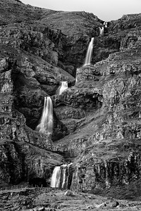 Waterfall on the side of the road in the Eastern Fjords