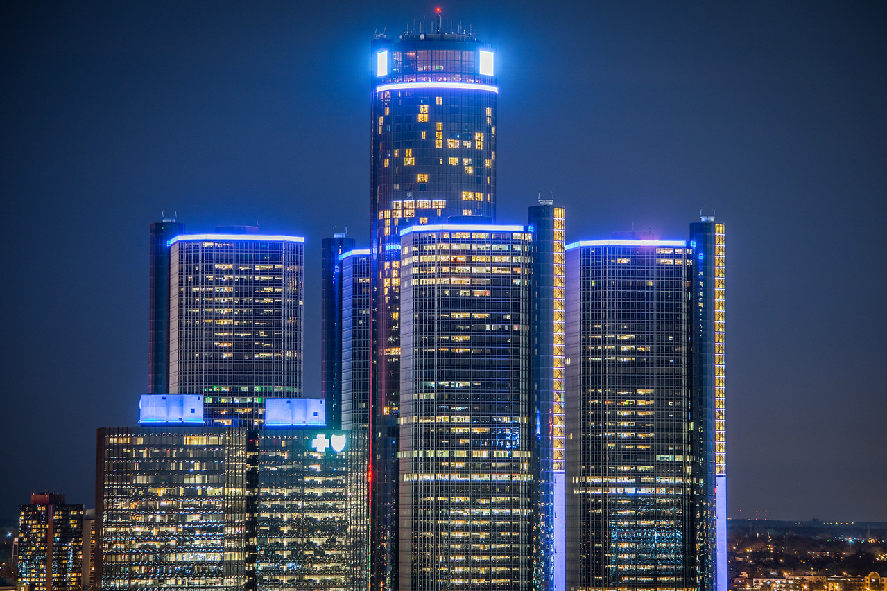 Renaissance Center At Night