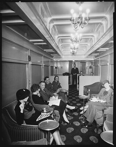 lounge car interior with people--no location