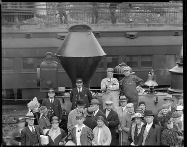 steam locomotive 201 with crew and people posing--Chicago IL