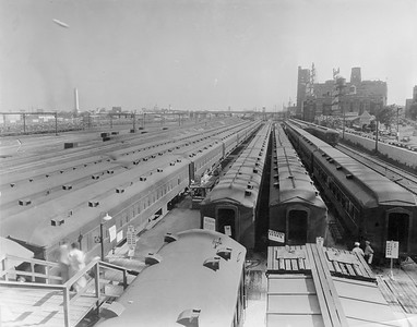 2010.030.PC28.03--lee hastman collection 8x10 print--ICRR--Co Photo view of coachyard with trains for the Century of Progress Fair--Chicago IL--1933 0000